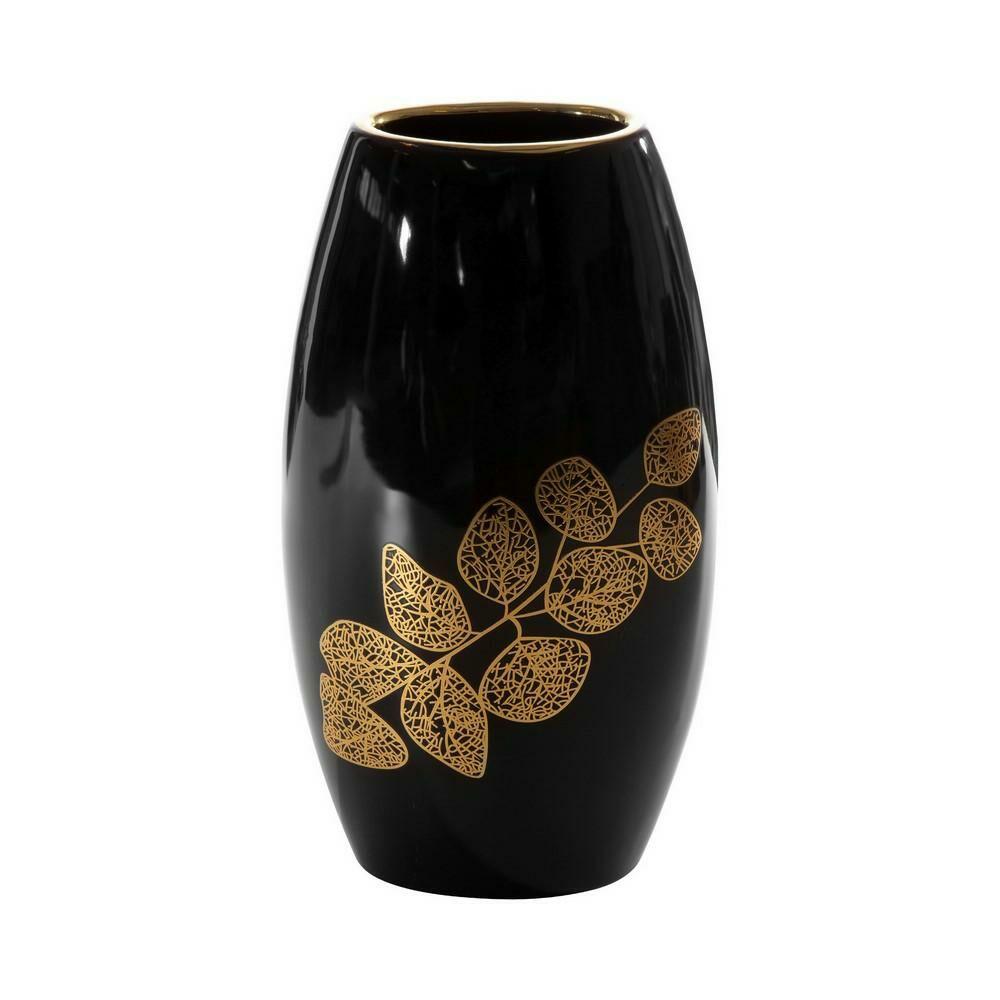 Wazon ceramiczny Erika 01 19x12x35 czarny złoty liście Eurofirany