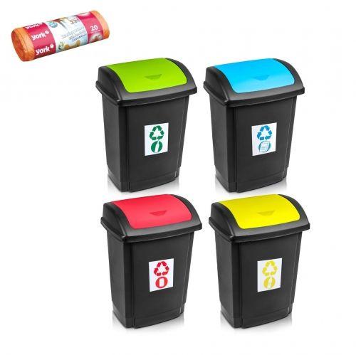 Kosz do segregacji śmieci SWING z pokrywą 25 L + worki na śmieci 35 L GRATIS