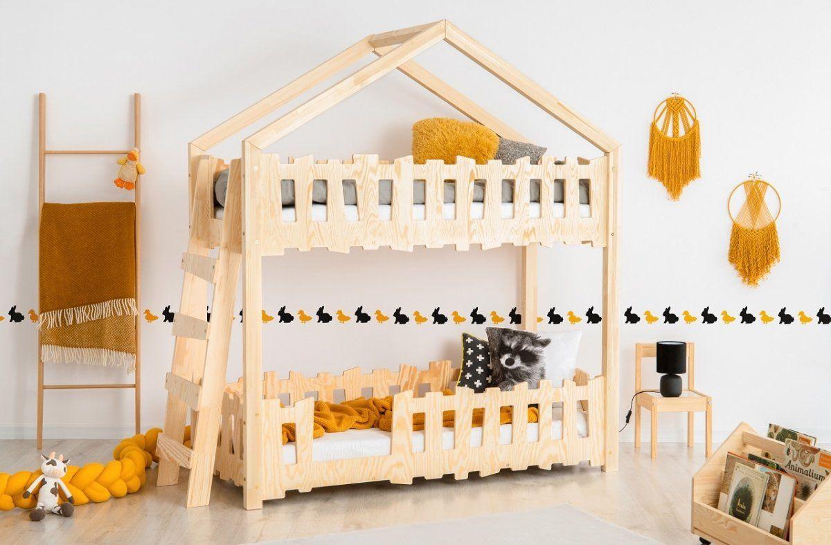 Łóżko ZIPPO B 90x190 sosna piętrowe domek z płotkami  KUP TERAZ - OTRZYMAJ RABAT