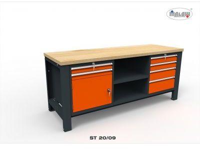 """Stół do warsztatu ST20/09 """"TRÓJKA"""" 6 szuflad zamykanych na klucz"""