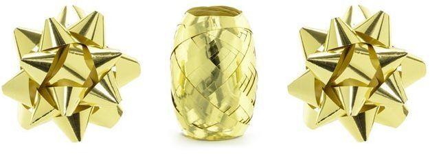 Zestaw rozetki i wstążka do prezentów złote PRS1-019