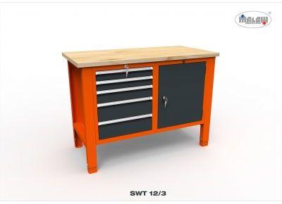 """Stół do warsztatu SWT 12/03 """"DWÓJKA"""" 1245 mm 450 kg narzędzia"""