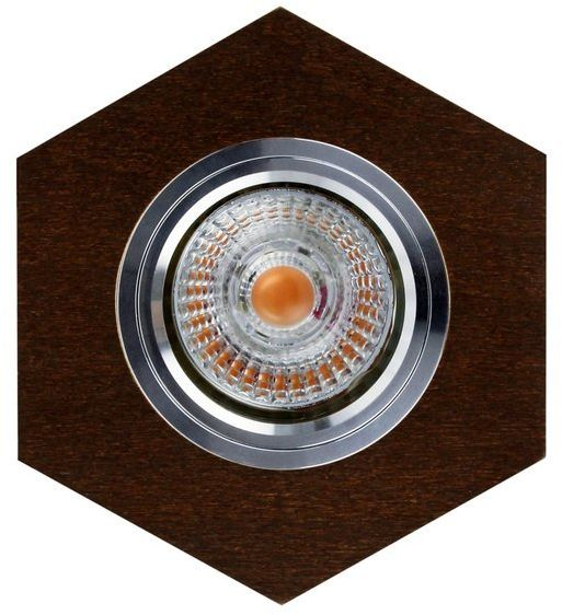 Lampa sufitowa VITAR WOOD oczko sufitowe wpuszczane sześciokąt drewno bukowe kolor orzech, 2518176