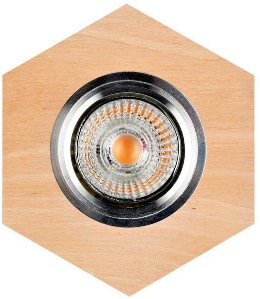 Lampa sufitowa VITAR WOOD oczko sufitowe wpuszczane sześciokąt drewno brzozowe kolor brzoza, 2518160