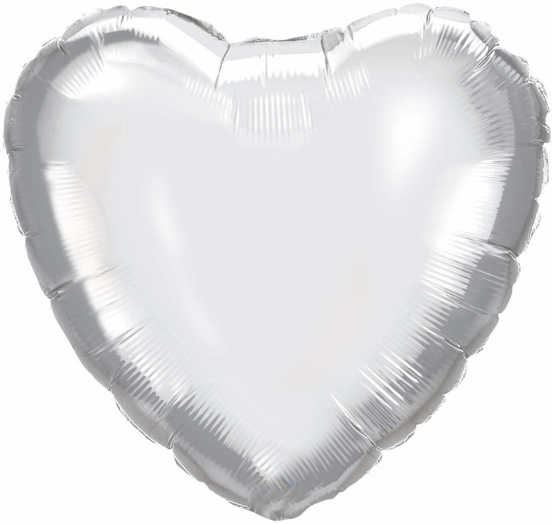 Procos 92452  balon foliowy serce, rozmiar 46 cm, srebrny, hel, balon, urodziny, dekoracja, prezent
