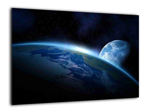 Obraz szklany KOSMOS ZIEMIA KSIĘŻYC NOC 90x60cm ozdobna szklana tablica magnetyczna