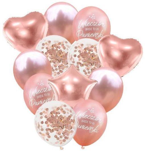 Balony na Wieczór Panieński różowe złoto 12 sztuk ZB42