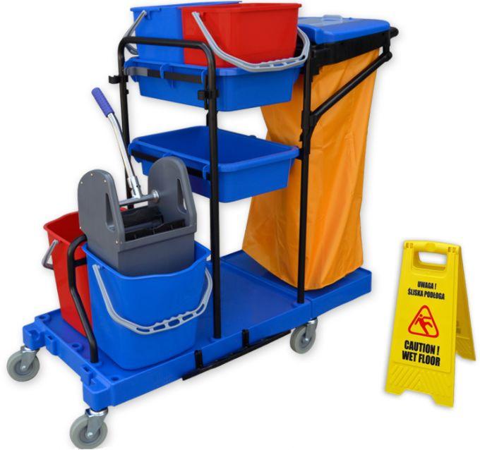 Zestaw do sprzątania z wózkiem do mycia podłóg wózki do sprzątania, wózek z mopem do czyszczenia