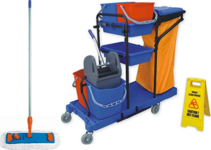 Profesjonalny zestaw do sprzątania z wózkiem do mycia podłóg i mopem płaskim 40 cm Wózek do sprzątania, Wózki do sprzątania, Wózek dla sprzątaczek