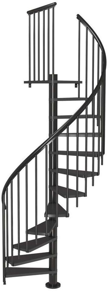 Schody spiralne CALGARY z dodatkowymi tralkami 140 cm Antracyt DOLLE