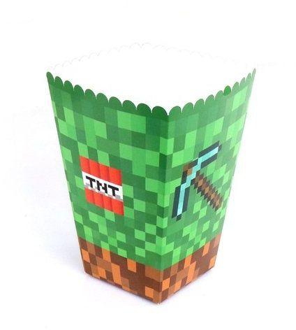 Pudełka na popcorn słodycze PIKSELE 6 sztuk POP-PIK