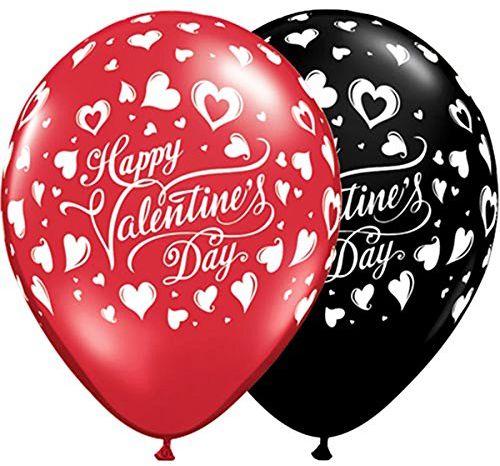 Qualatex 23185 Okrągły walentynkowy klasyczny balon foliowy w sercach, onyks czarny/rubinowy, 28 cm