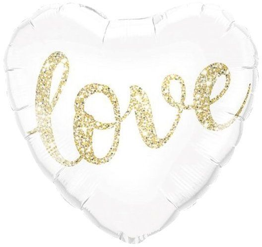 Balon serce białe z napisem LOVE złoty nadruk 45cm 1 sztuka 460216