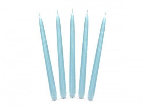 Świece stołowe niebieskie, błękitne 24 cm, (10 szt.)