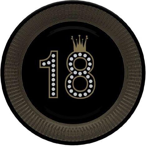Talerzyki papierowe na 18 urodziny czarne 23cm 8 sztuk TM02OG050801