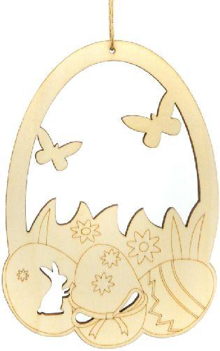 Drewniane jajka zawieszki z pisankami 25cm 1szt CDW-8703-pisanki