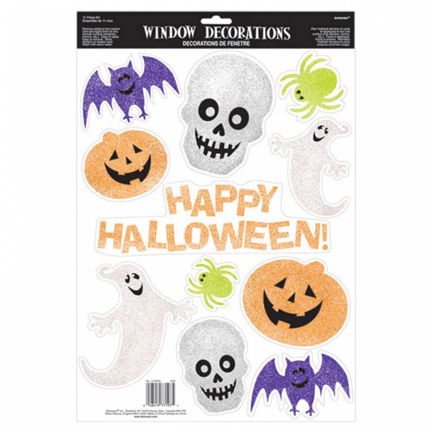 Dekoracje Halloweenowe na okno - 11 szt.