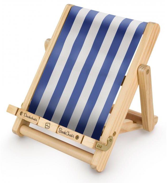 Stojak na książkę, czytnik i tablet Deckchair Bookchair Medium Stripy Blue