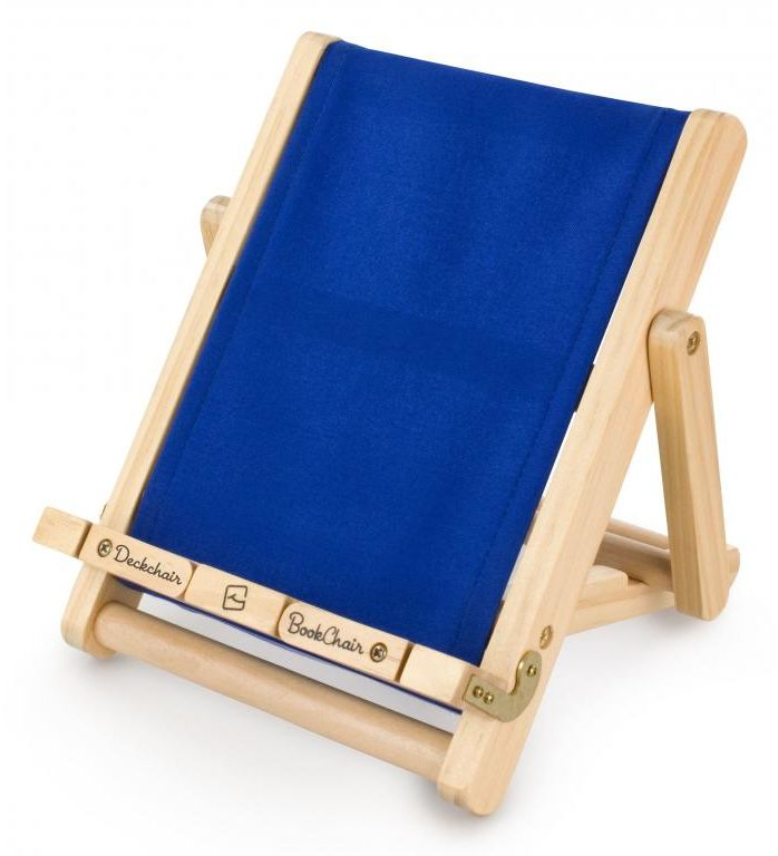 Stojak na książkę, czytnik i tablet Deckchair Bookchair Large Blue