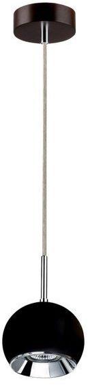 Lampa wisząca BALL WOOD drewno bukowe kolor orzech klosz czarny, 5143176