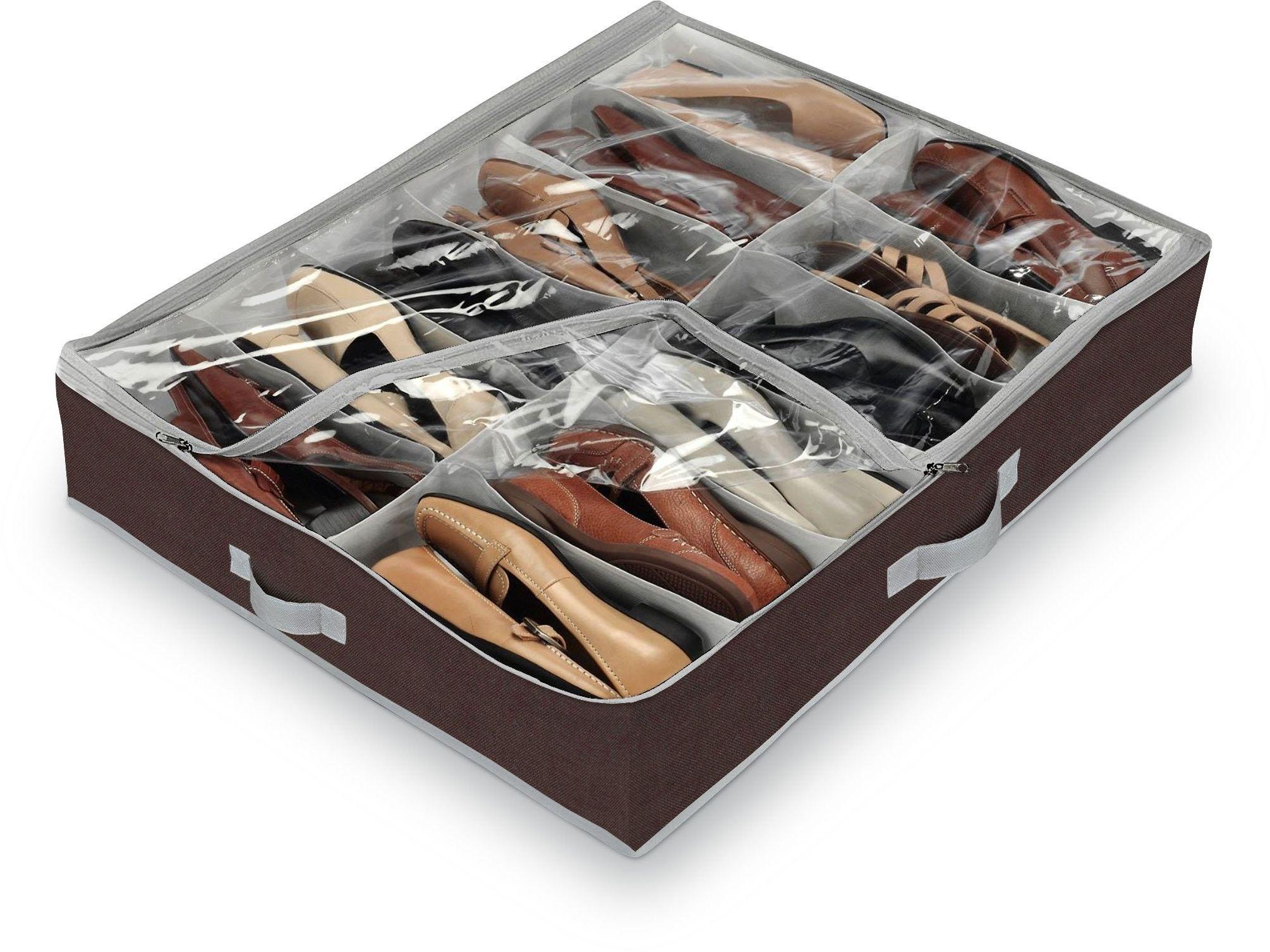 Domopak living duży organizer do butów pod łóżko, 12 przegródek (brązowy) 76 x 60 x 15 cm