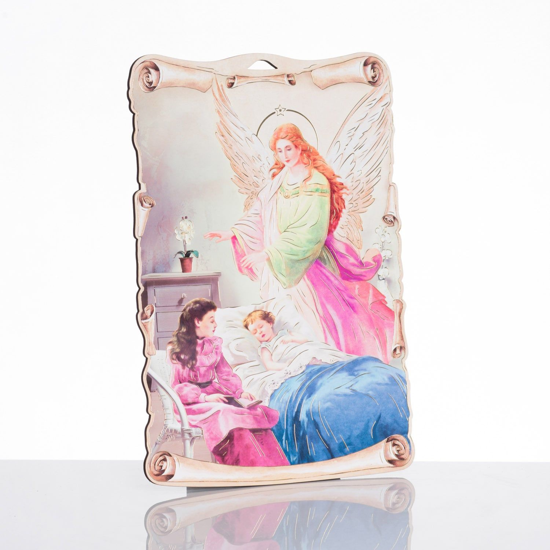 Anioł stróż ?? obrazek religijny na desce
