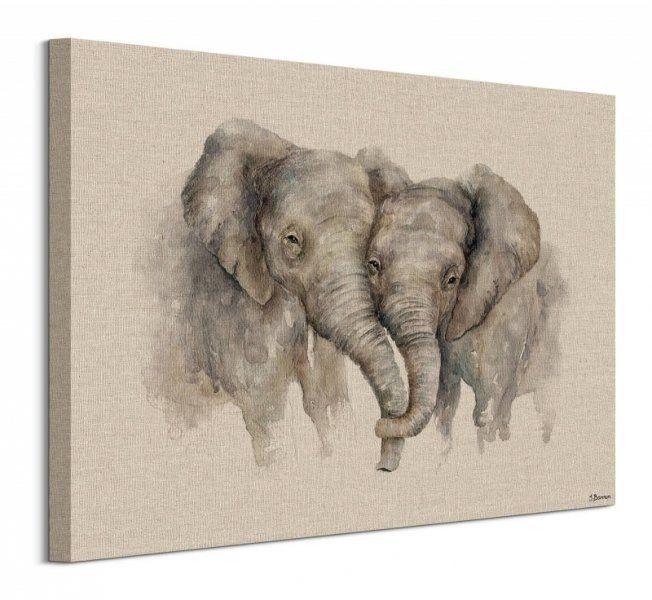 Zakochane słonie - obraz na płótnie