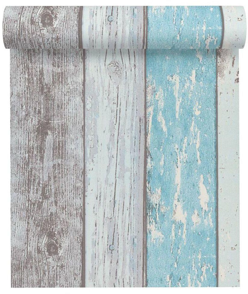 Tapeta Drewno szaro-niebieska imitacja deski winylowa na flizelinie
