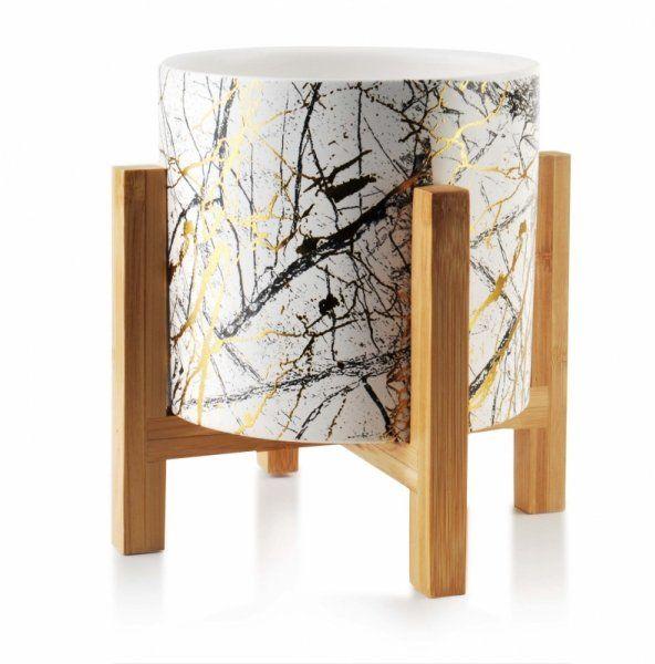 Kwietnik - Doniczka ceramiczna na drewnianym stojaku - 13x12cm