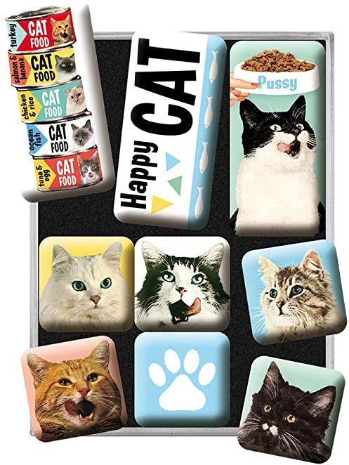 Nostalgic-Art 83093, Animal Club Happy Cats, zestaw magnesów (9-częściowy) pomysł na prezent dla właścicieli kotów, zestaw magnesów na tablicę magnetyczną, 9 sztuk