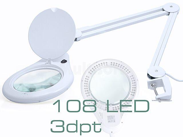 Lupa stołowa 3 dioptrie fi177mm podświetlana 108 LED