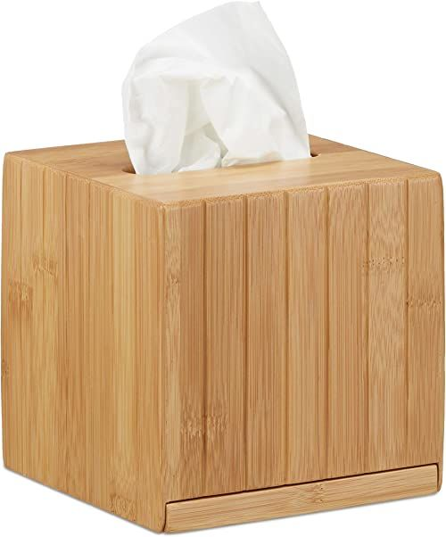 Relaxdays Kwadratowe pudełko na chusteczki kosmetyczne, drewniane, pudełko na kosmetyki, bambus, pudełko na chusteczki, wymiary: 14 x 14 x 14 cm, kolor naturalny