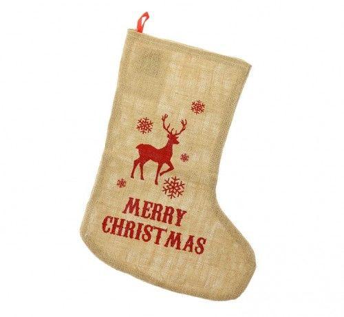 Skarpeta Świąteczna z juty Renifer