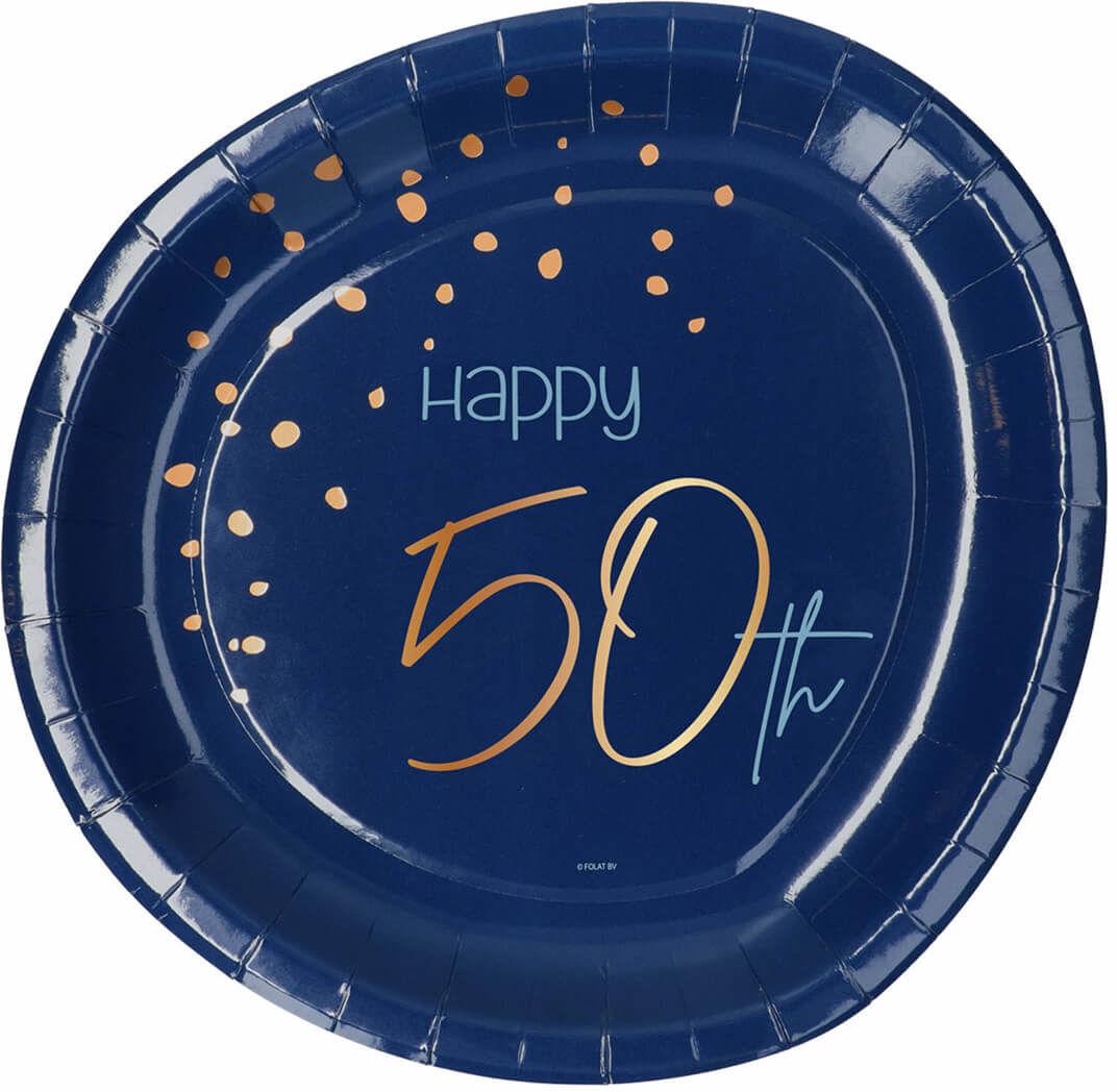 Talerzyki urodzinowe granatowe Happy 50th - 23 cm - 8 szt.