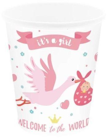 Kubeczki papierowe Baby Shower Bocian różowe 6 sztuk 511821