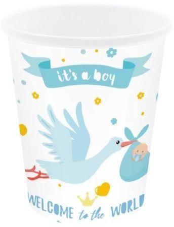 Kubeczki papierowe Baby Shower Bocian niebieskie 6 sztuk 511823