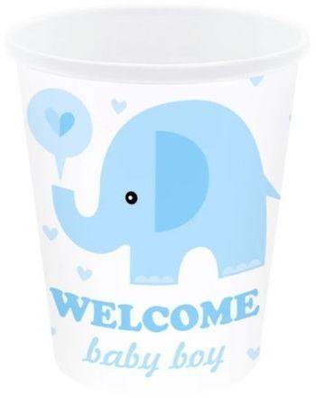Kubeczki papierowe Baby Shower Słonik niebieskie 6 sztuk 511829