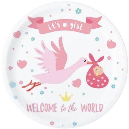 Talerzyki papierowe Baby Shower Bocian różowe 6 sztuk 511820