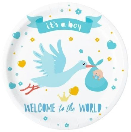 Talerzyki papierowe Baby Shower Bocian niebieskie 6 sztuk 511822