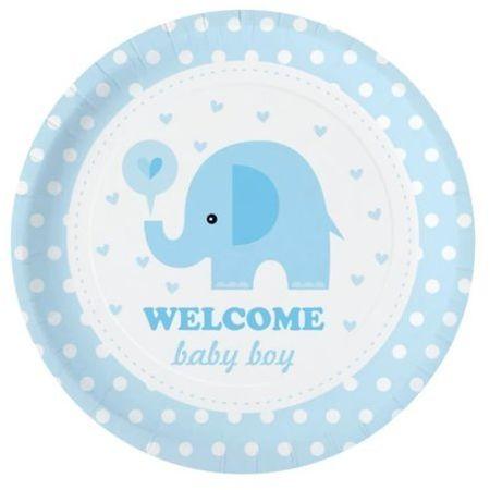 Talerzyki papierowe Baby Shower Słonik niebieskie 6 sztuk 511828