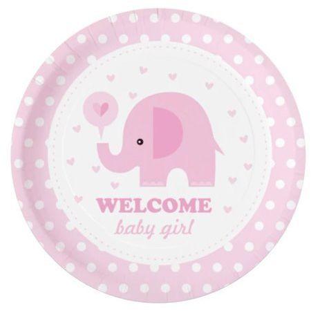Talerzyki papierowe Baby Shower Słonik różowe 6 sztuk 511824
