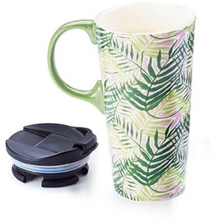 Duży kubek TROPICAL z pokrywką to go  porcelanowe naczynie na wynos, letni motyw, idealny letni prezent dla przyjaciółki koleżanki