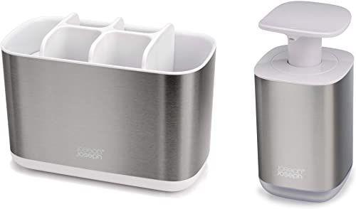Joseph Joseph 70551 łazienka piękno 2-częściowy zestaw łazienkowy zlew z uchwytem na szczoteczkę do zębów i pompką do mydła, stal nierdzewna