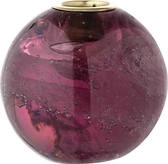 Świecznik na klasyczną świecę bloomingville kula fioletowy szklany