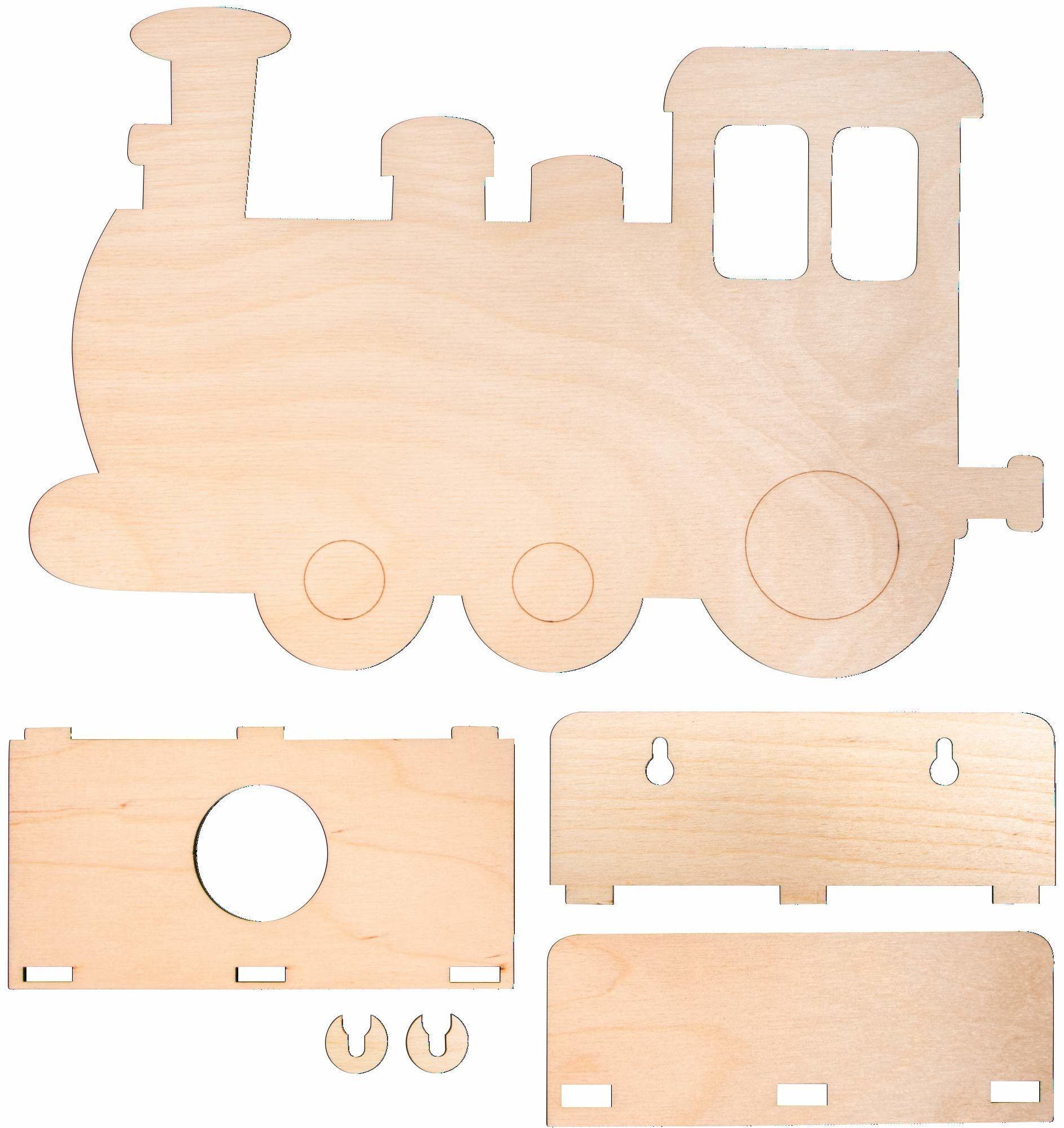 Rayher 62988505 drewniany zestaw do montażu lampa kl. pociągiem, FSC MixCred, naturalny, 29 x 18,3 x 7,5 cm, 6-częściowy, pudełko 1 zestaw, normalne