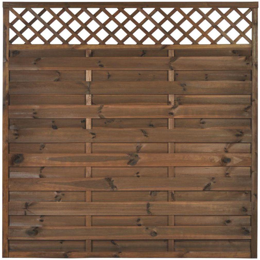Płot szczelny z kratką 180x180 cm drewniany NIVE NATERIAL