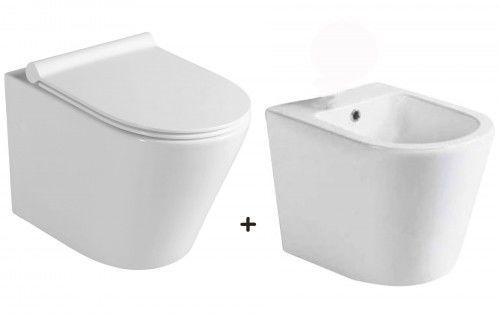Zestaw miska WC z deską WC Slim soft close+bidet ceramika,Paco