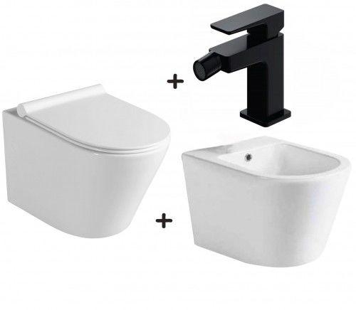 Zestaw PACO 4 w 1 miska WC z deską +bidet ceramika +bateria czarny mat PARMA