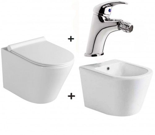 Zestaw PACO 4 w 1 miska WC z deską +bidet ceramika +bateria KASIOPEA