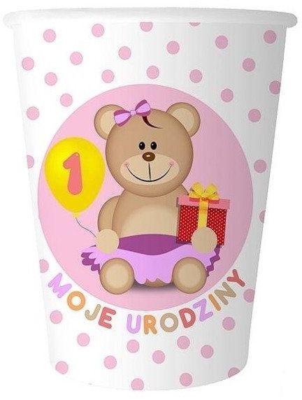 Kubeczki papierowe Moje 1 Urodziny różowe 270ml 6 sztuk GD-KM1UR